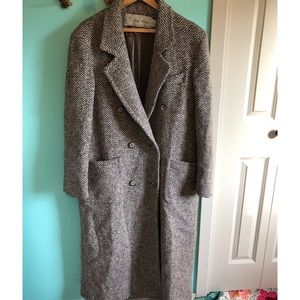 VTG 70s Tweed Wool Long Trench Coat